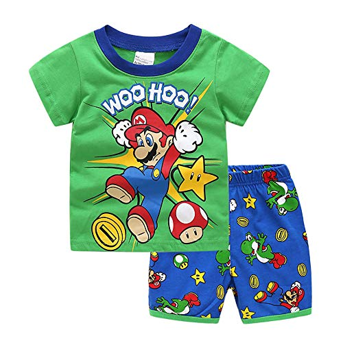 Conjunto de pijama para niños de 2 piezas, manga corta, 100% algodón, ropa de 2 a 7 años, disponible para regalo (tamaño: 4 años, color: verde)