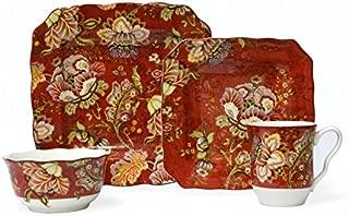 Gabrielle Red 16 Piece Dinnerware Set
