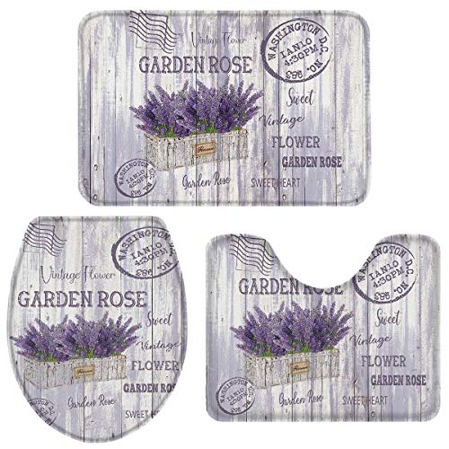 Fancyine 3 Pieces Bath Rugs Sets Lavender in Flower Pot Soft Non-Slip Absorbent Toilet Seat Cover U-Shaped Toilet Mat for Bathroom Decor Old Postmark on Wooden