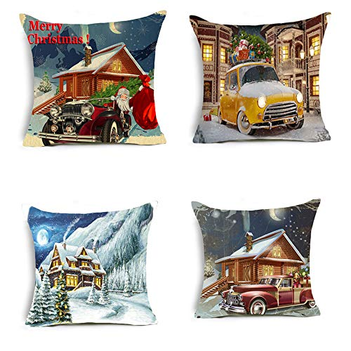 Gaojian Throw Cushion Pillow Covers Christmas Happy New Year Decorative for Sofas Beds Chairs Covers Square Pillowcase 4 -Piece Set, 18 X 18 Inch,Q