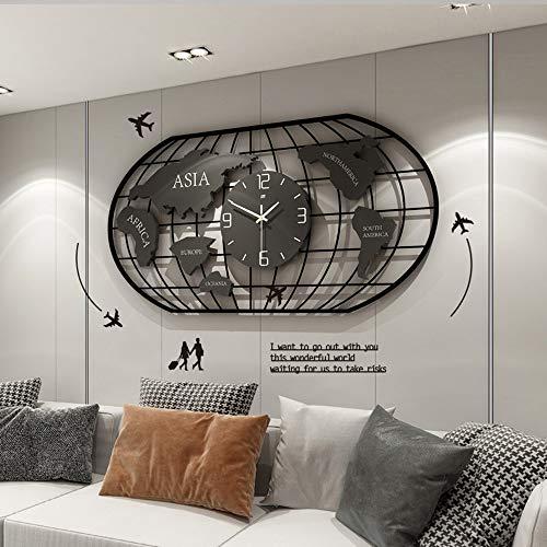 HPDOM 3D Oval Weltkarte Wanduhr + Eisen Nordic Modernes Design Dekoration Wanduhr, Wohnzimmer Schlafzimmer Quarz Nadel Stumm Digitale Geometrische Hängende Wand,Kreative Wanduhr (78 x 40 cm)
