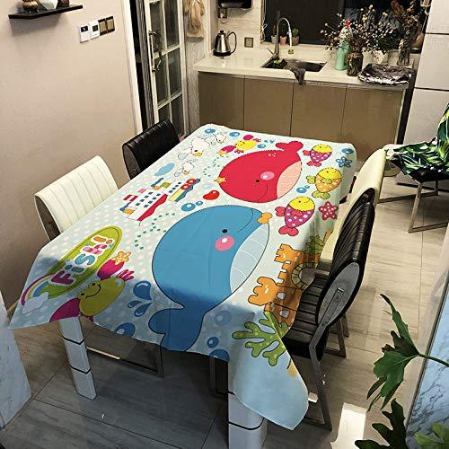 ZHAOXIANGXIANG Mantel Estampado Rectangular,Prueba De Aceite Impermeable Mantel Salón Mesas De Café Mantel Personalidad Cartoon Whale Imprimir Decoracion Mesa Rectangular De Tela,140X140Cm.