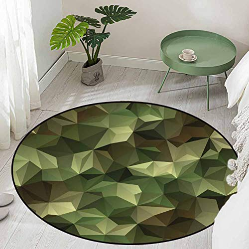 Round Office Chair Floor Mat Foot Pad Geometric Fractal Shapes Triangles Camouflage Inspired Form with Poly Effect Diameter 48 inch Modern Area Rug with Non-Skid