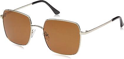 Hikaro Amazon Brand Polarized Fashion Square Sunglasses for Women UV Protection Metal Frame Mirrored Lens