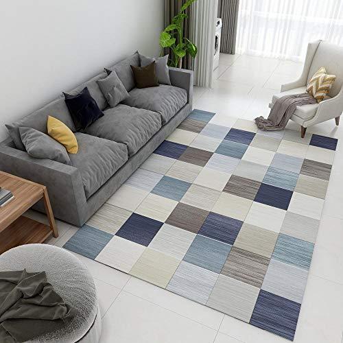 Wohnzimmer Große Teppich Moderne Designer Blau Grey Brown Mixed Color Geometric Square Home Dekorative Teppich Boden Kachel Pflegeleicht 160×230CM(5ft3 x 7ft7)