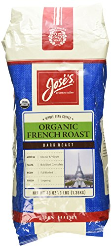 Jose's Gourmet Coffee Organic French Roast Whole Bean Coffee 3 Lbs/ 48 Oz