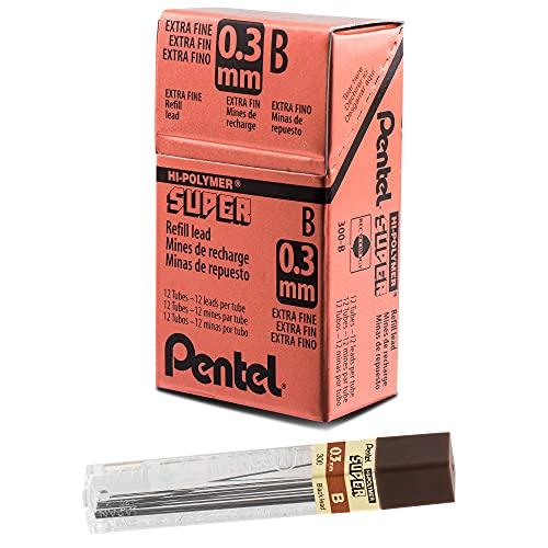 Pentel, 300-B, Super Hi-Polymer Lead Refills, 0.3 mm