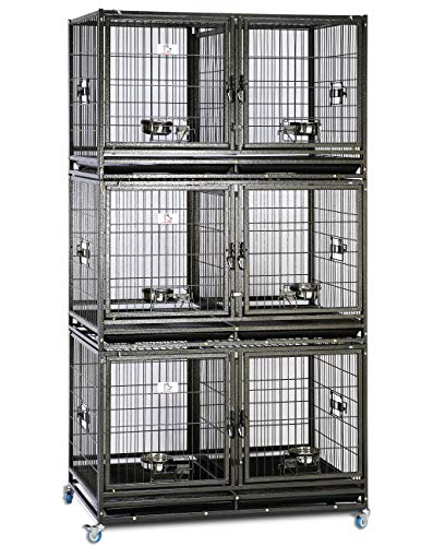 """43"""" Stackable Heavy Duty Cage w/ Feeding Doors and Divider or Additional Tray (3xDG-43-T)"""