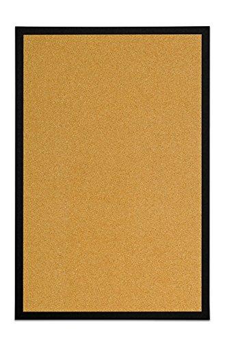 Bi-Office - Tablón de Anúncios de Corcho, Tablero con Marco MDF Negro, 60x40 cm