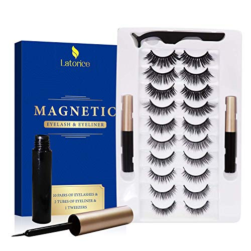 Magnetic Eyeliner and Eyelashes Kit, 10 Styles 3D Reusable Magnetic Eyelashes 2 Tubes of Upgrade Eyeliner, with Tweezers, No Glue Needed Natural Look, Latorice