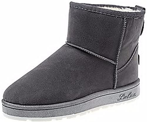 ZHUDJ schuhe De damen Stiefel Stiefel De Nieve Caída Ronda Toe For Casual grau schwarz