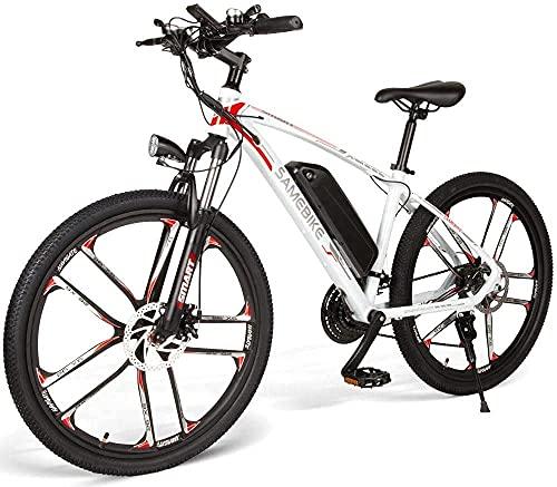 SAMEBIKE MY-SM26 Vélo électrique 350W 48V Vélo électrique de Montagne 21 Vitesses 26 Pouces Ebike pour Adultes (Blanc)
