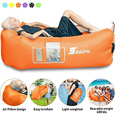 SEGOAL Inflatable Lounger Air Sofa Beach Bed Camping Chair Couch Hammock with Pillow Portable Waterproof Anti-Air Leaking for Indoor/Outdoor Hiking Travel Pool Picnic Backyard Lakeside