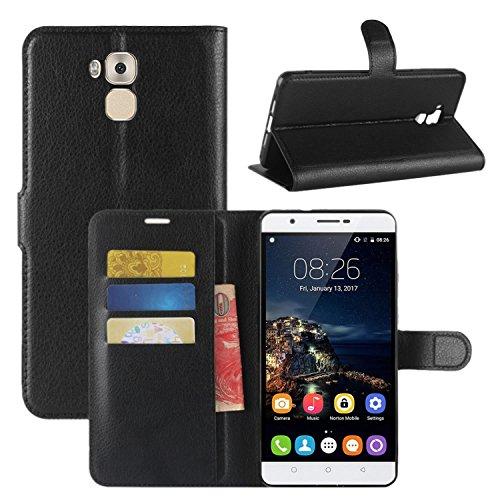 HualuBro Oukitel U16 Max Hülle, Premium PU Leder Leather Wallet HandyHülle Tasche Schutzhülle Flip Case Cover für Oukitel U16 Max Smartphone (Schwarz)