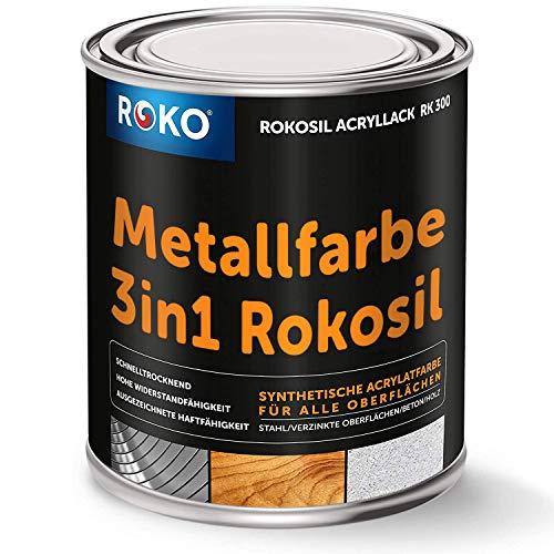 Metallfarbe ROKOSIL - 0,7 Kg in Anthrazit-Grau - Seidenmatt - 3in1 Grundierung, Rostschutz & Deckfarbe - Langlebig & Robust - Premium Metalllack für viele Metalle - Metallschutzlack, Metall-Lack