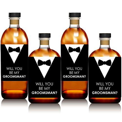 Suit Up – Will You BE My Groomsman Whisky ou étiquette de bouteille de vin Stickers – Lot de 4