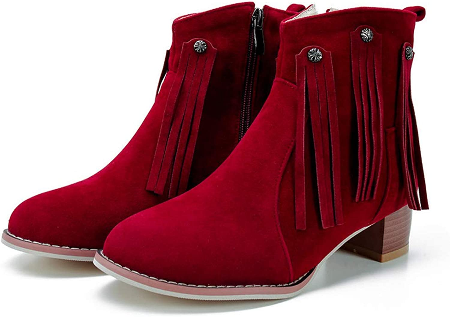 Webb Perkin Women Casual Round Toe Chunky Heel Side Zipper Booties Party Short Boots Lady Fashion Tassels Ankle Boots