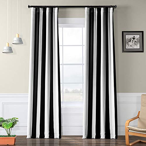 HPD Half Price Drapes BOCH-KC43-84 Stripe Room Darkening Curtain (1 Panel), 50 X 84, Awning Black & Fog White
