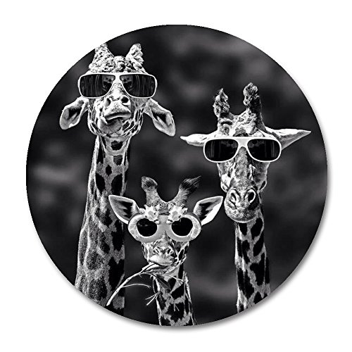 Giraffes Round Mouse Pad by Smooffly,Funny Family Giraffes Mousepad Round Non Slip Rubber Mouse pad Gaming Mouse Pad