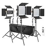 Neewer 3 Packs Advanced 2.4G 480 LED Video Light Photography Lighting Kit, Dimmable Bi-Color LED...