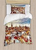 ABAKUHAUS Stadt Alte Häuser Funda Nórdica, Valencia, España Ver, Decorativo, 2 Piezas con 1 Funda de Almohada, 130 cm x 200 cm, Multicolor