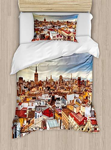 ABAKUHAUS Stad Oude Huizen Dekbedovertrekset, Valencia Spanje View, Decoratieve 2-delige Bedset met 1 siersloop, 130 cm x 200 cm, Veelkleurig