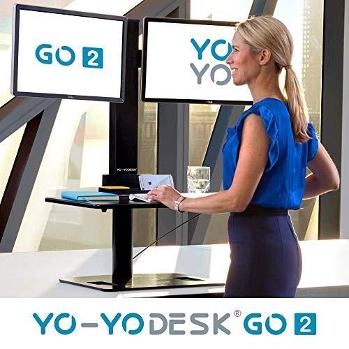 Yo-Yo DESK GO 2 (SCHWARZ) | Meistverkaufter Höhenverstellbarer Schreibtisch Mit Integrierter Säule Und Dual Monitorhalterung Für Benutzer über 180 cm | Integrierte Kabel- und Stiftbox