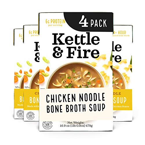 Kettle and Fire Chicken Noodle Soup with Bone Broth, Keto Friendly, High in Protein and Collagen, 4 Pack