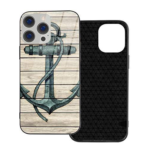 Funda protectora para teléfono de madera con diseño de ancla de barco marino estilo vintage, parte trasera de cristal templado y parachoques de TPU suave compatible con iPhone 12/iPhone 12 Pro