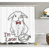 Yeuss Alice im W&erland Dekorationen Sammlung,lustige Kaninchen mit Uhren Cartoon Alice Dekor Charakter Fantasy,Polyester Bad Duschvorhang mit Haken Set,weiß rot 66'x72'