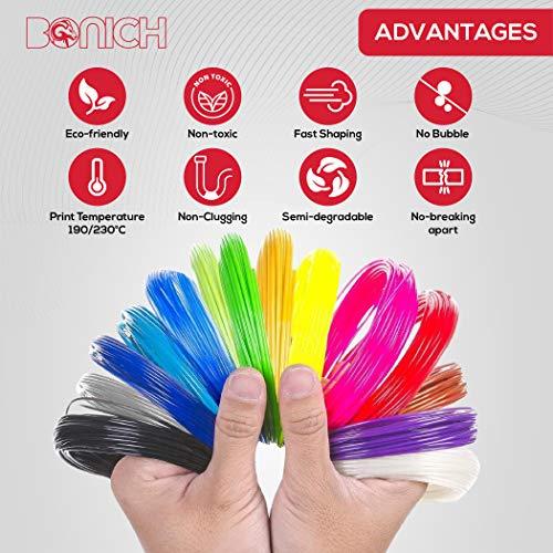 Bonich Filamento PLA 1.75mm Multicolor 10m per 20 Colori Kit PLA per 3D Pen Filament Stampanti