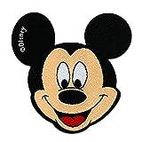 Toppe termoadesive - Mickey Mouse Disney comico bambini - nero - 6,5x6,5cm - Patch Toppa ricamate Applicazioni Ricamata da cucire adesive
