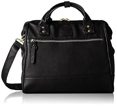 Japan Anello PU LEATHER LARGE BLACK 2 Way Unisex Shoulder Bag Handbag Campus School