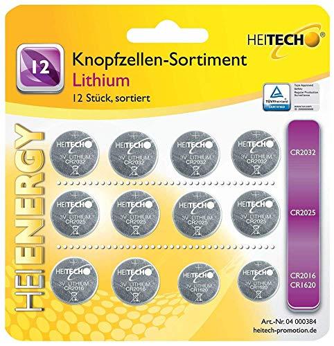 HEITECH 12er Pack Lithium Knopfzellen Batterie TÜV geprüft - 4× CR2032 / 4× CR2025 / 4× CR2016-3V Knopfbatterien auslaufsicher & mit Langer Haltbarkeit