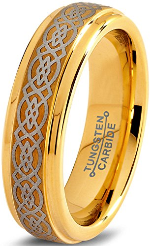 Charming Jewelers Tungsten Wedding Band Ring 6mm for Men Women Comfort Fit Celtic Knot 18K Yellow Gold Plated Step Beveled Edge Brushed Polished Size 10