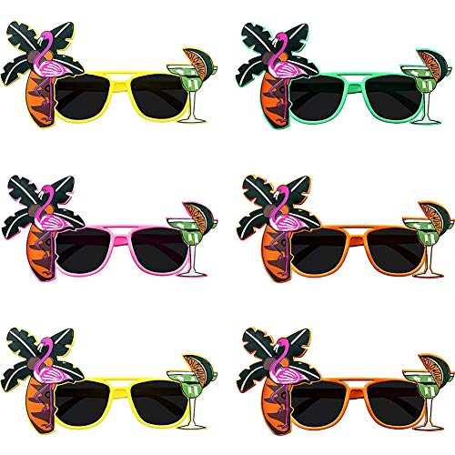 BETOY Lustige Brillen, 6 Paar Party Sonnenbrille Palme Brille Hawaii Universal Hawaiian Tropical Party Brille Set für Foto-Requisiten, Beach-Party-Accessoires, Tanzshows, Fun-Partys,14 x 11.5cm