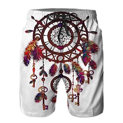 Pantalones Cortos De Playa para Hombres,Cartel Dibujado a Mano de Color Americano Brillante,Pantalones De Chándal De Secado Rápido, Bañador De Verano para Ejercicios Al Aire Libre M