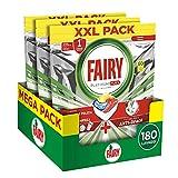 Fairy Platinum Plus Allin1 Pastiglie Lavastoviglie, 180 Cicli, 3 x 60 Capsule, Detersivo al Limone, Brillantezza Originale, Tecnologia Anti-Opaco con Azione Brillante
