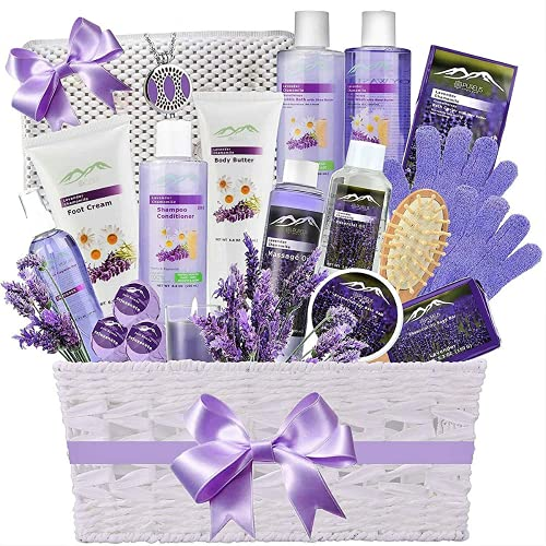 Premium Bath & Body Gift Basket. Ultimate Large Spa Basket! #1 Spa Gift Baskets for Women. Pampering Home Spa Kit - Natural Organic & Infused with Essential Oils! (Extra Large Lavender Bath Gift)