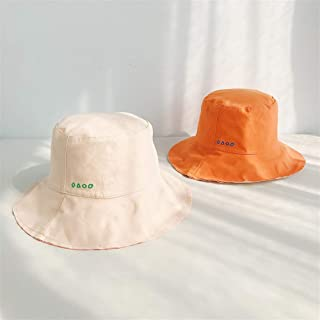 SHENTIANWEI Japanese Sided Solid Color hat Female Summer ins net red Bucket Hats Spring and Autumn hat Korean Wild Tide (Color : Beige+Orange, Size : One Size)