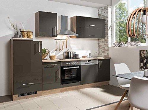 idealShopping GmbH Küchenblock mit Glaskeramikkochfeld und Geschirrspüler Jana 280 cm in Lava glänzend