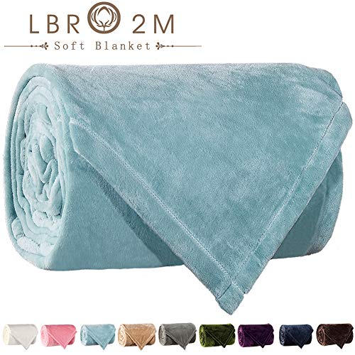 LBRO2M Fleece Bed Blanket Queen Size Super Soft Warm Fuzzy Velvet Plush Throw Lightweight Cozy Couch Blankets (90x104 Inch) Turquoise