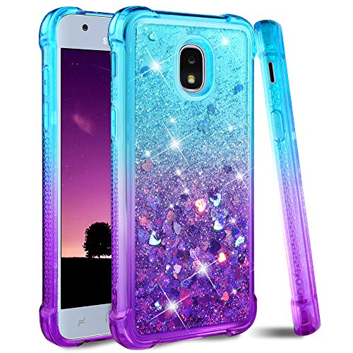 Ruky Galaxy J3 2018 Case, Samsung Galaxy J3 Orbit J3 Emerge (2018) J3V (3rd Gen) Express Prime 3 J3 Star J3 Achieve Case, Glitter Flowing Liquid Girly Phone Case for Samsung Amp Prime 3 (Teal Purple)