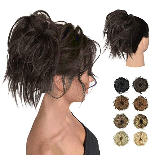 FESHFEN Tousled Updo Messy Hair Bun Hairpiece, Fluffy Hair Bun Extension Curly Messy Bun Hair Piece Synthetic Ponytail Hair Scrunchies with Elastic Rubber Band For Women
