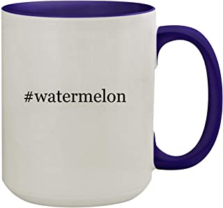 #watermelon - 15oz Hashtag Ceramic Inner & Handle Colored Coffee Mug, Deep Purple