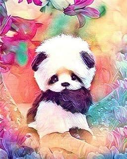 H/H Mignon Panda Art Peinture Affiche Famille Décoration Peinture Mode Bar Café Toile Art Peinture À l'huile sans Cadre 40...