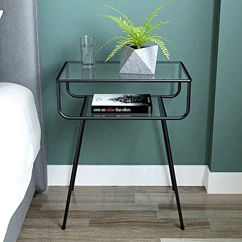 H-CAR Metal Bedside Table With Mirror Top Bedside Table Storage Cabinet For Living Contemporary Bedside Accent Table Color : Black, Size : 49x33x60cm(19x13x24in)