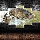 GSDFSD So Crazy Art - Cebo de señuelo de Pesca de lubina Decoracion De Pared 5 Piezas Modernos Mural Fotos para