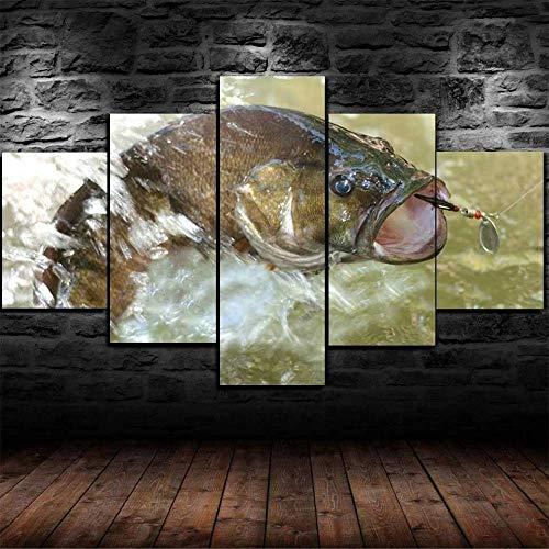 Cuadros Decoracion Salon Modernos 5 Piezas Lienzo Grandes Xxl Murales Pared Hogar Pasillo Decor Arte Pared Abstracto Cebo De Señuelo De Pesca De Lubina Hd Impresión Foto 150X80Cm Innovador Regalo