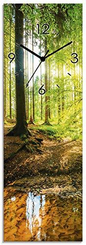 Artland Wanduhr ohne Tickgeräusche Glas Quarzuhr 20x60 cm Rechteckig Lautlos Wald Bach Landschaft Natur Sonne Bäume T9IO